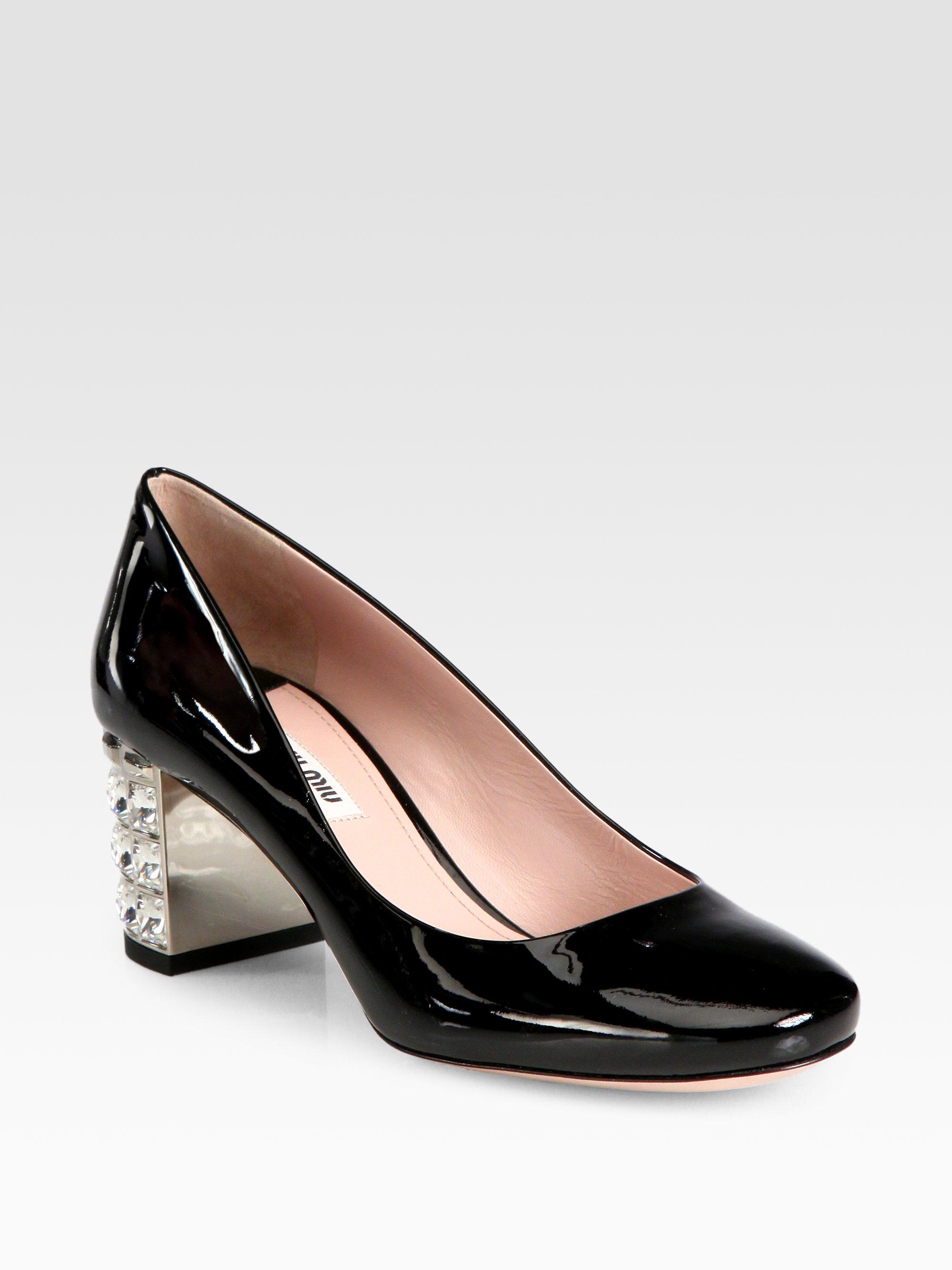 db514e1b7cc Lyst - Miu Miu Patent Leather Crystal Heel Pumps in Black