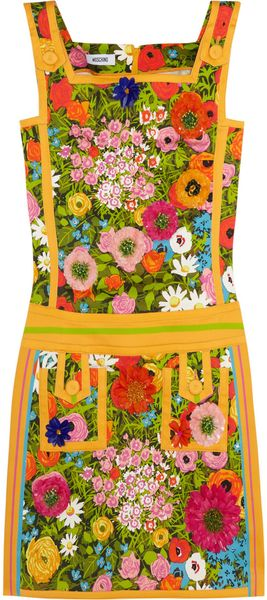 Moschino Floralprint Cotton Blend Mini Dress - Lyst