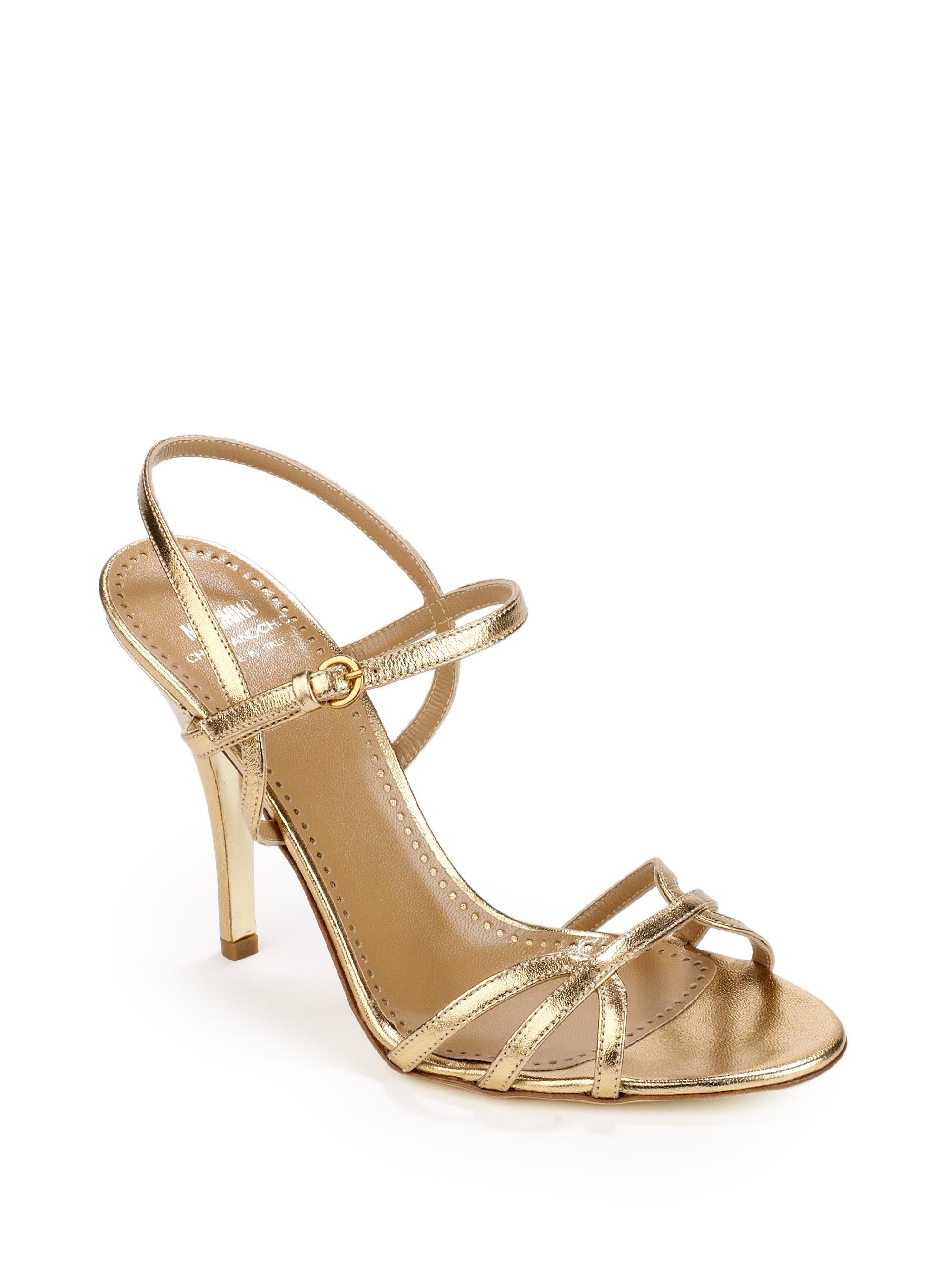 Moschino Metallic Leather High Heel Sandals in Metallic | Lyst