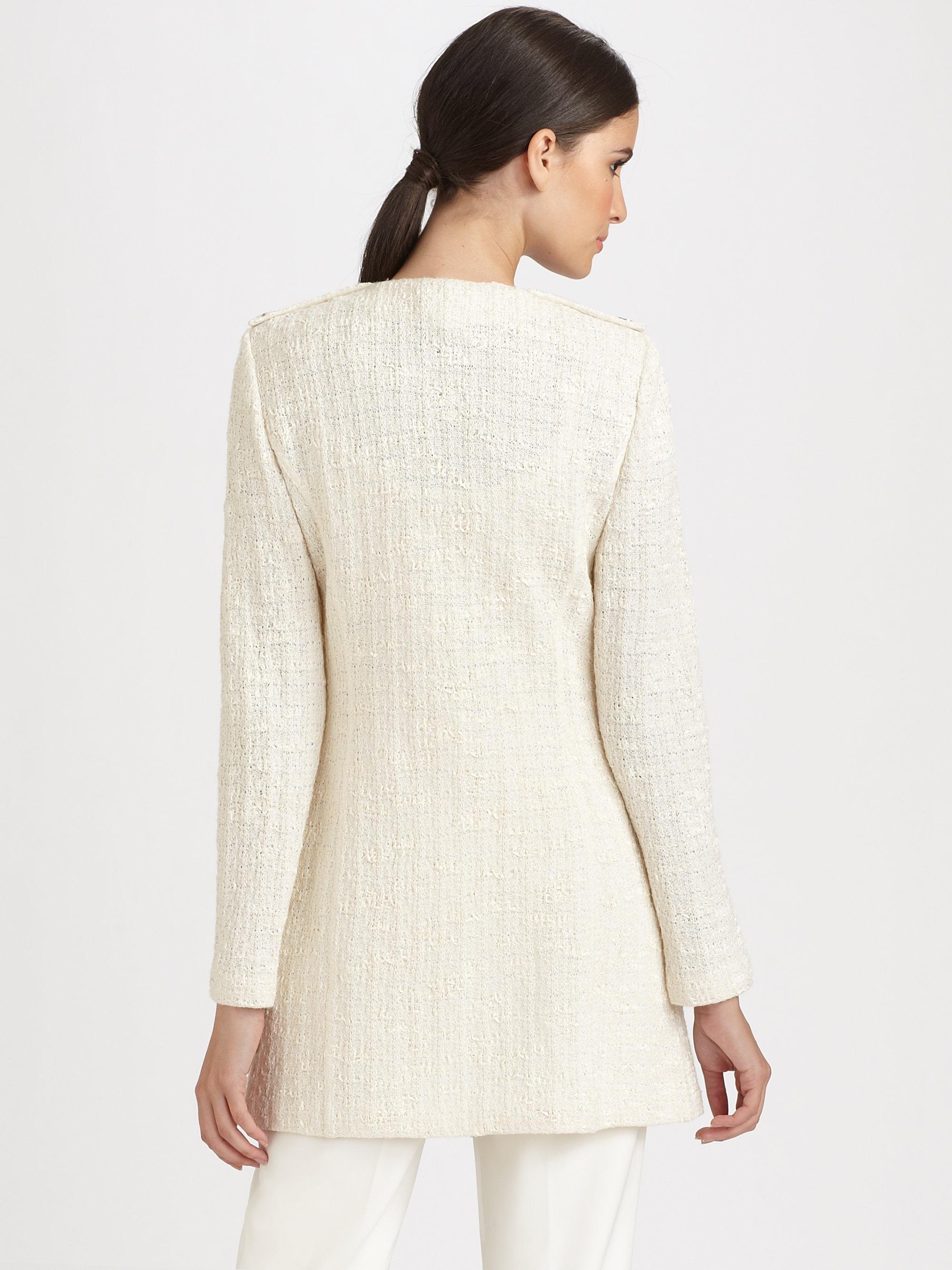 St. john Tweed Coat in White | Lyst