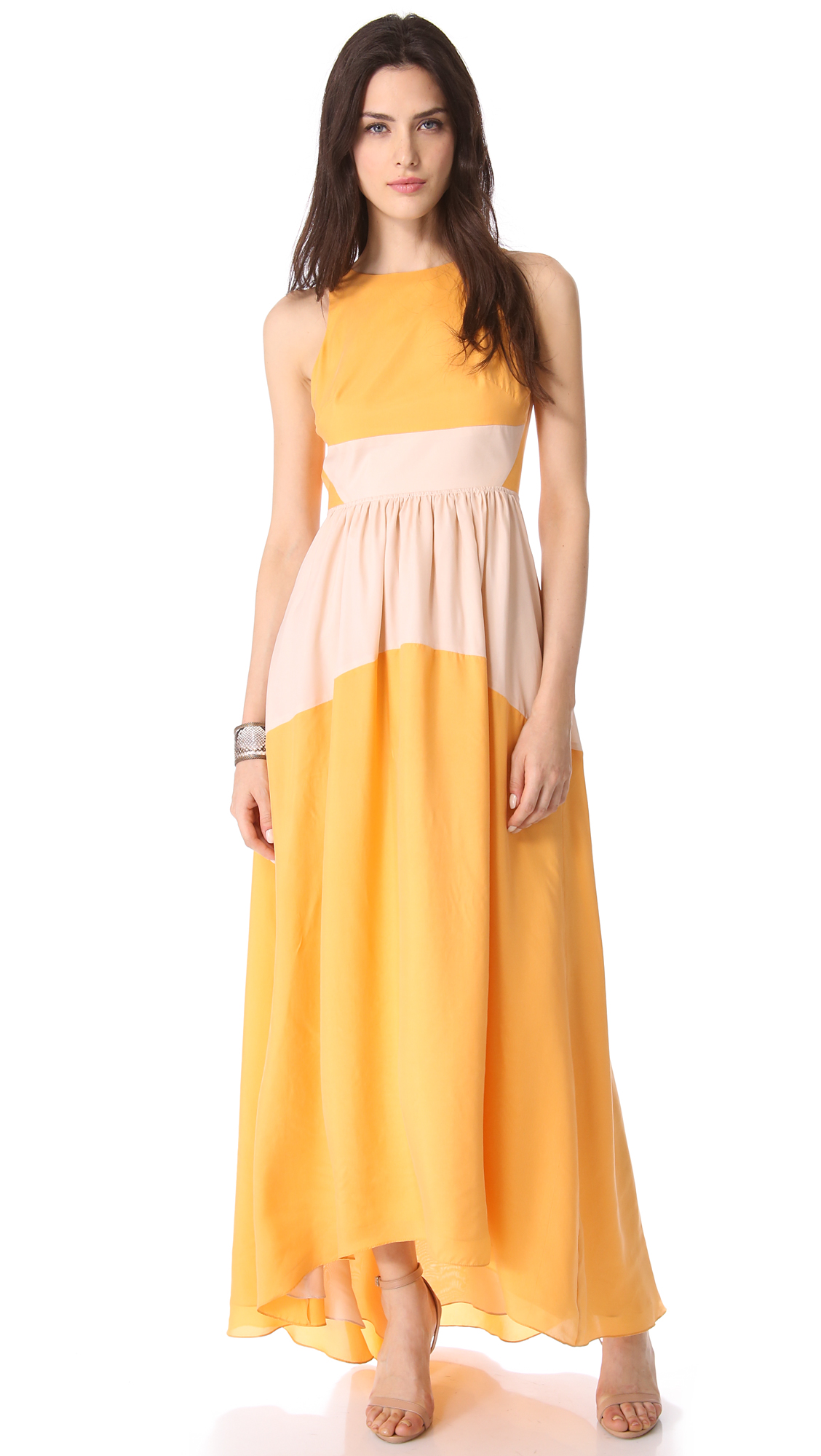 Tibi Colorblock Maxi Dress in Yellow - Lyst