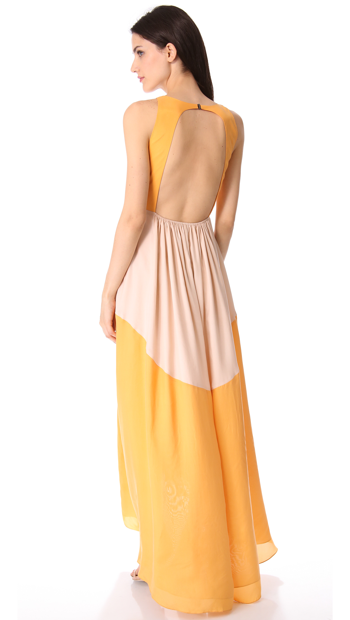 Tibi Colorblock Maxi Dress in Yellow | Lyst