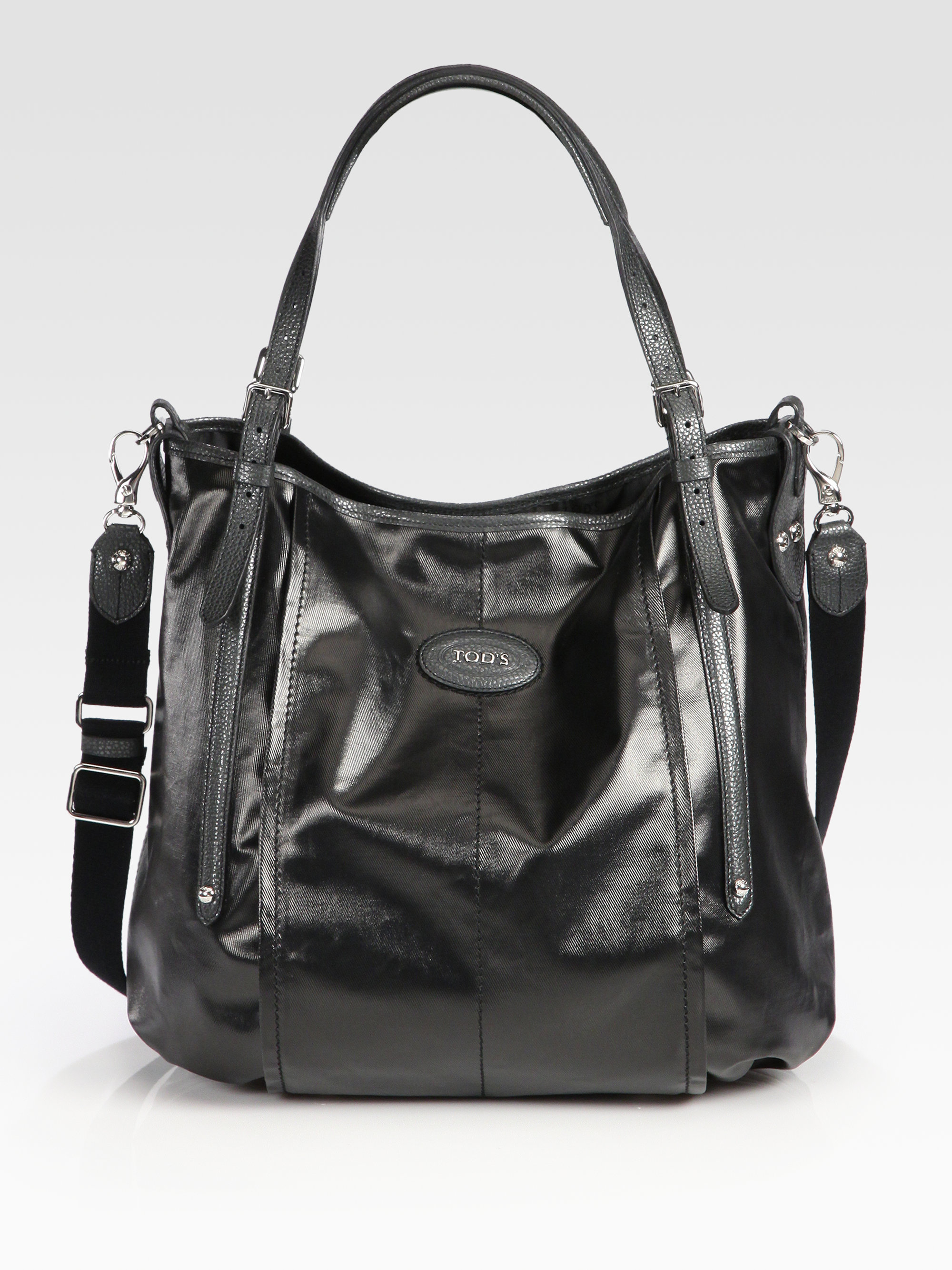fe064bec4d27f Tod's Selleria Sacca Coated Canvas Satchel in Black - Lyst