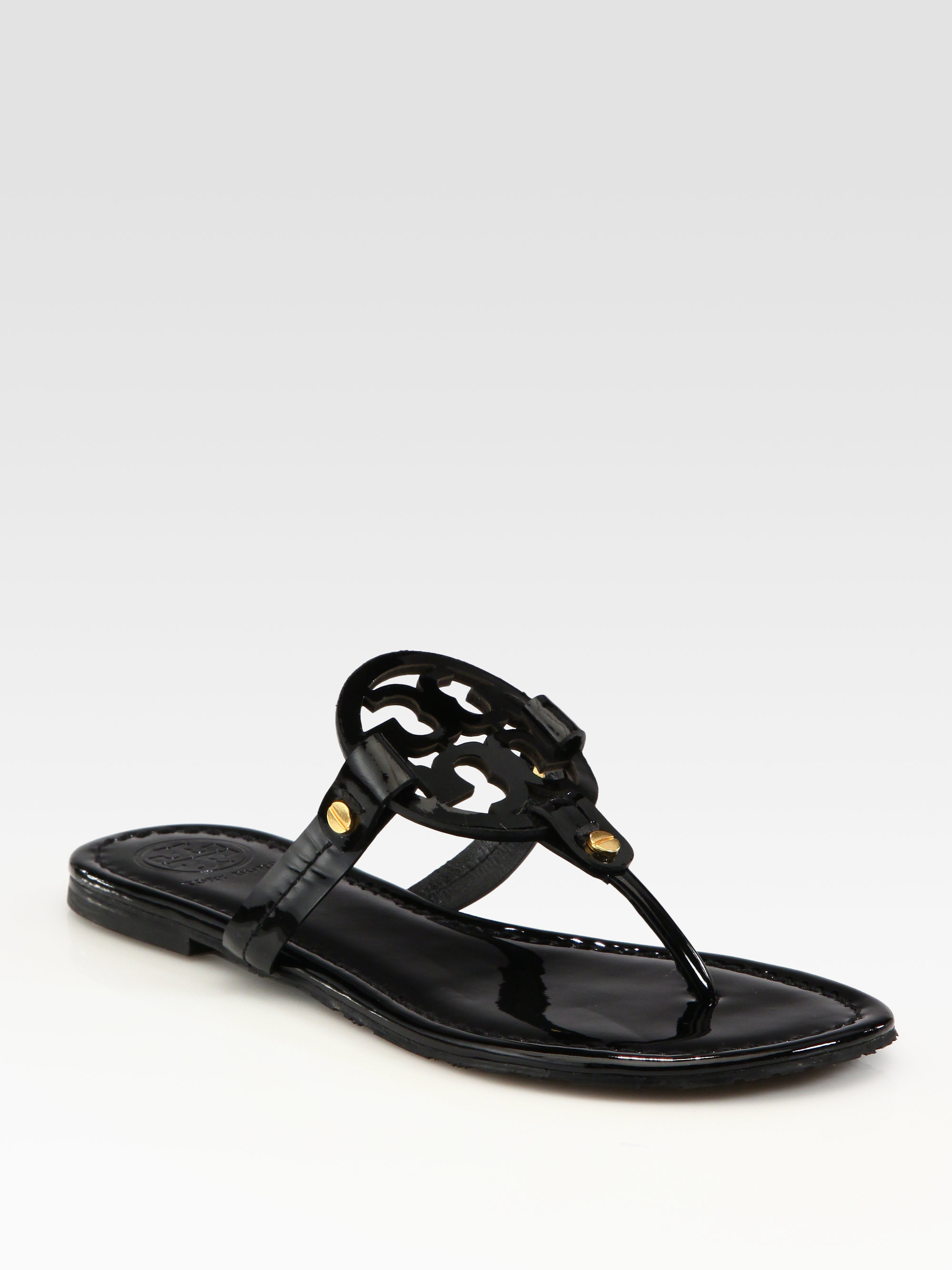 3b0d9aefdbfe Authentic TORY BURCH Miller Thong Sandal Black Patent Size 10 M 195