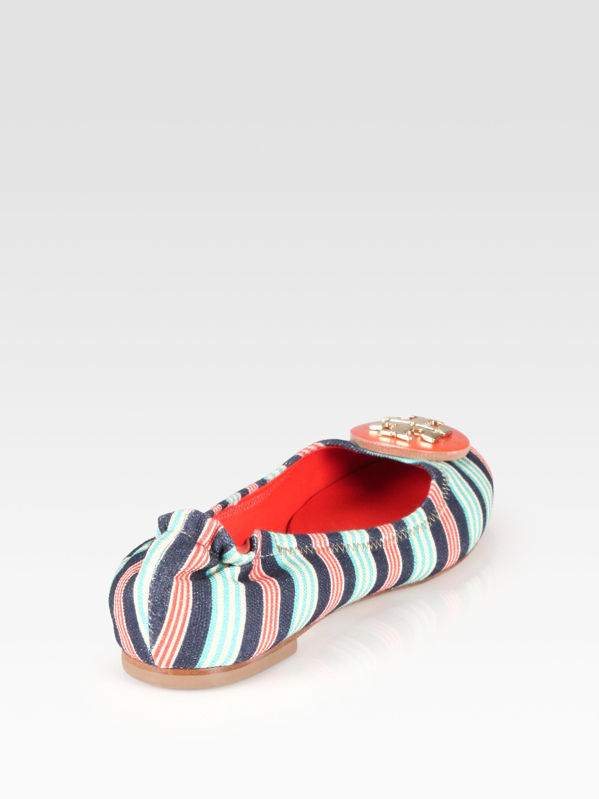 ba9064c47fe ... where can i buy lyst tory burch reva striped canvas logo ballet flats  in blue 91e08