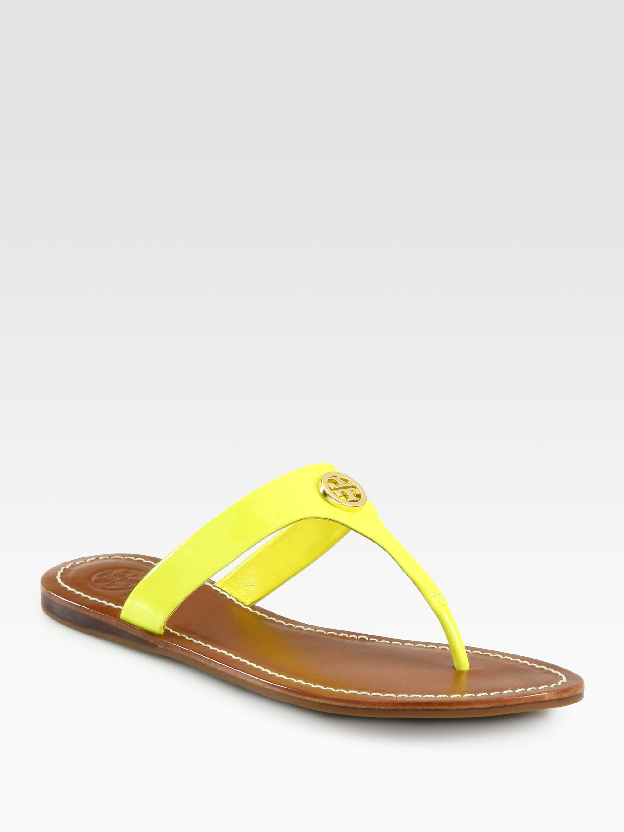 78dea8fb98f Lyst - Tory Burch Cameron Patent Leather Thong Sandals in Yellow