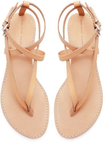 Zara Basic Thong Sandals - Lyst