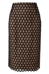Alexander McQueen Honeycomb Lace and Silk Pencil Skirt - Lyst