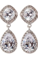 Cz By Kenneth Jay Lane Cushion Teardrop Cubic Zirconia Earrings - Lyst