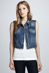 Free People Moody Blue Denim Macrame Cargo Vest - Lyst