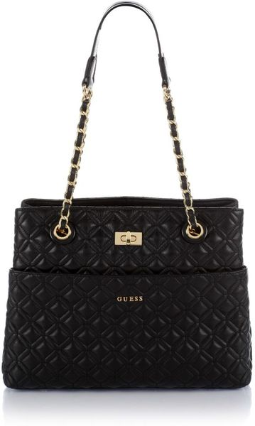 Guess Quilted Leather Tote Bag In Black Lyst