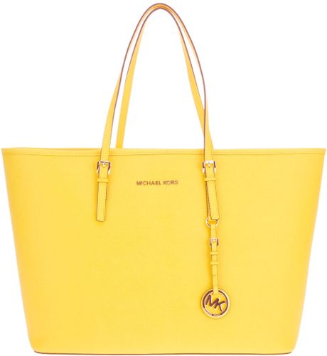 michael kors shopper tote in yellow lyst. Black Bedroom Furniture Sets. Home Design Ideas