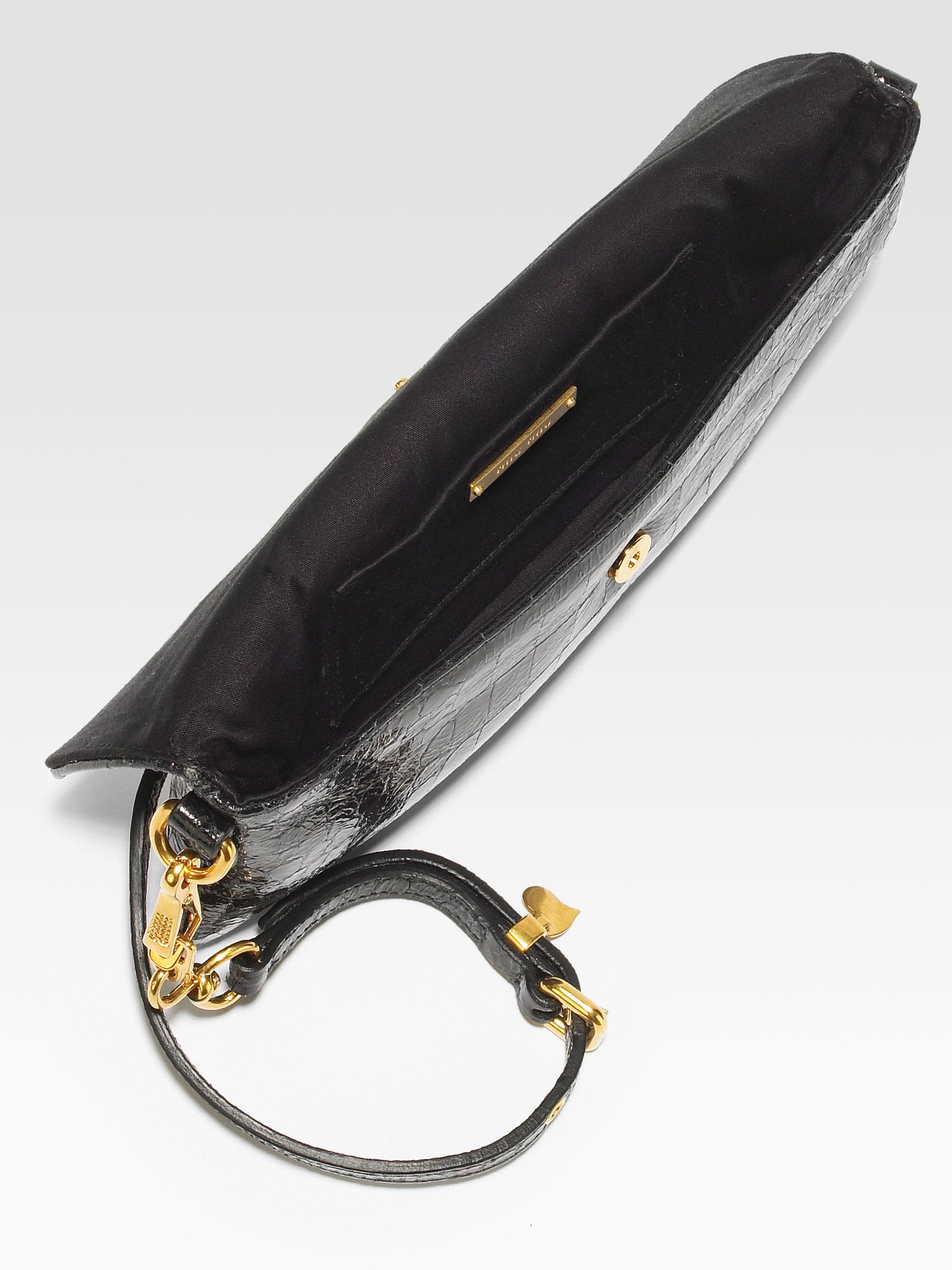 Miu miu St Cocco Crocprint Patent Leather Convertible Clutch in ...