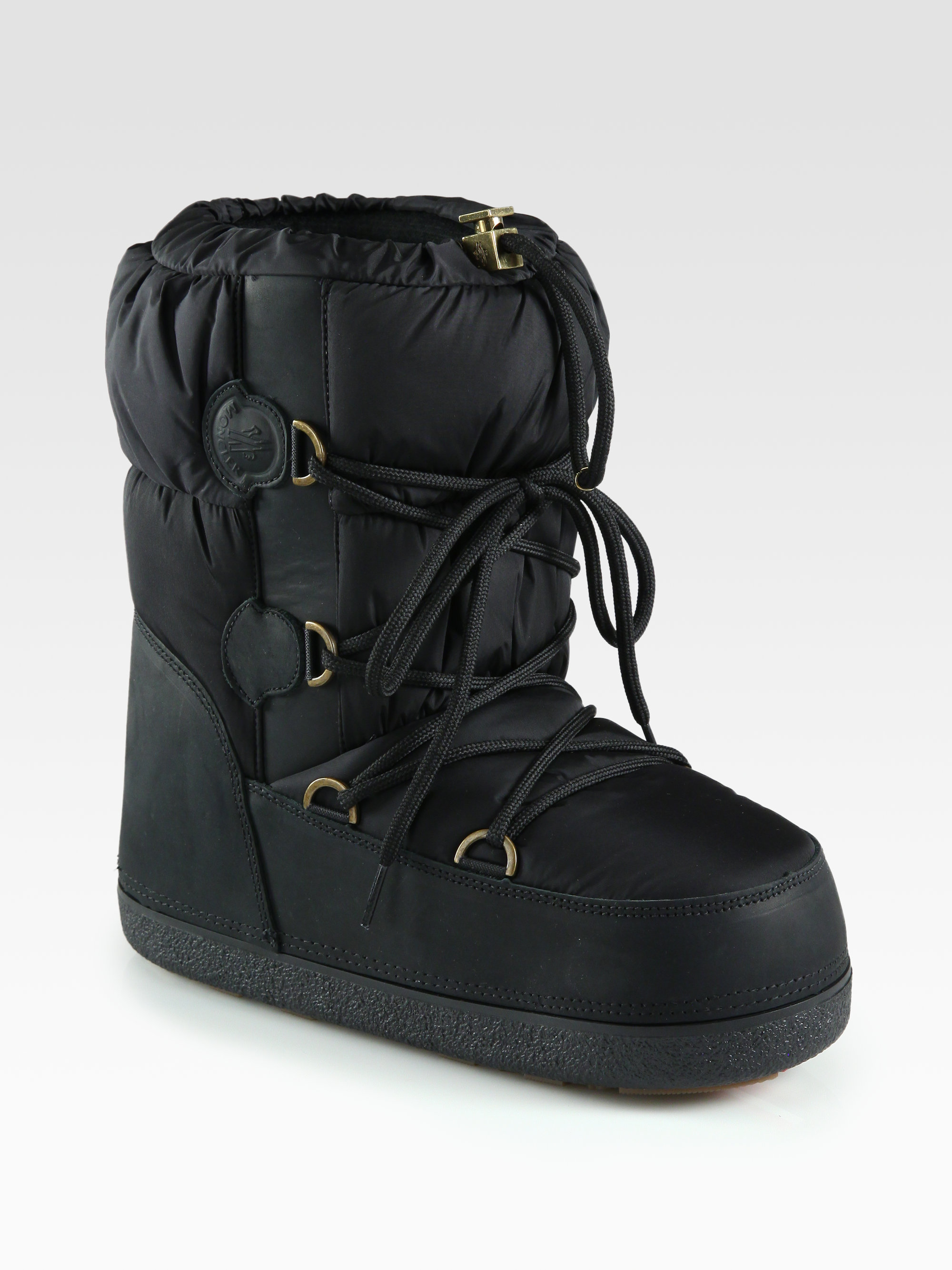 Lyst Moncler Nylon Leather Laceup Moon Boots In Black