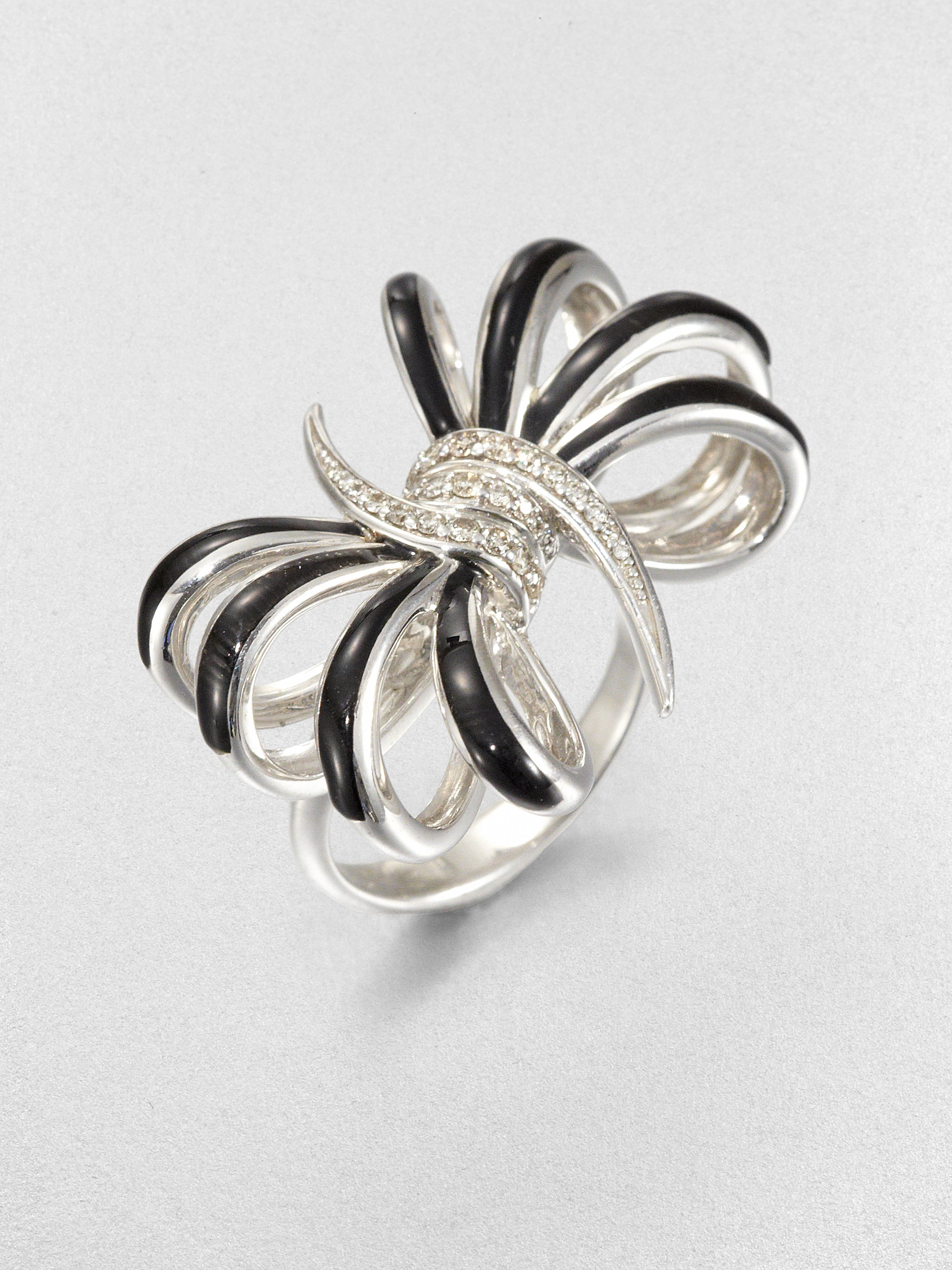 Stephen webster Diamond and Sterling Silver Bow Ring in Metallic