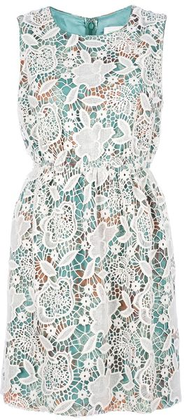 Anna Sui Lace Overlay Chiffon Dress - Lyst