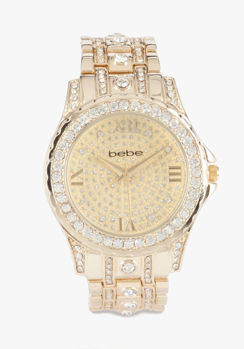 Bebe Crystal Encrusted Link Watch In Gold Lyst
