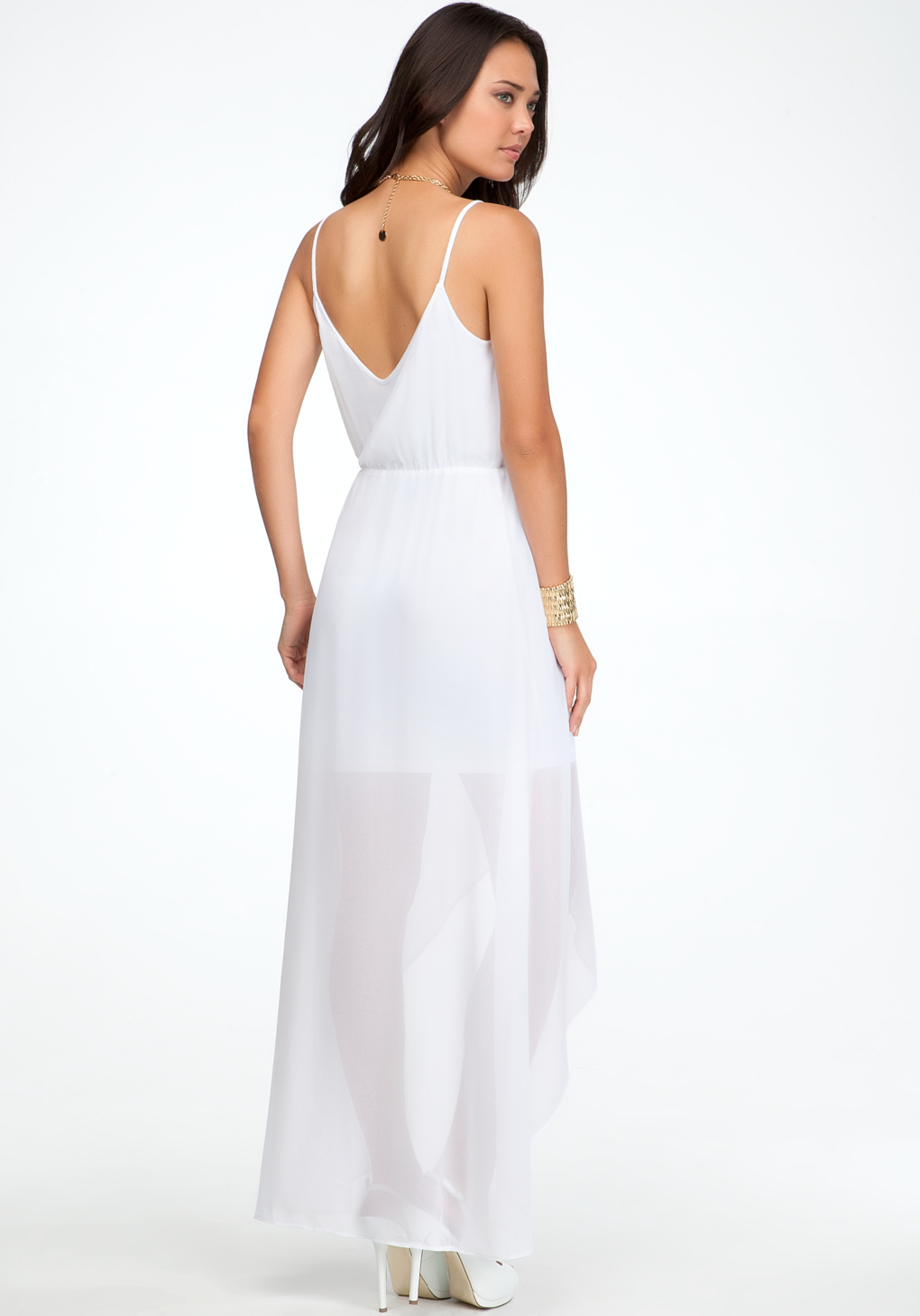 Lyst Bebe High Low Crossover Front Dress In White