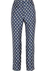 By Malene Birger Gertrudi Anchor Print Silk Twill Pants - Lyst