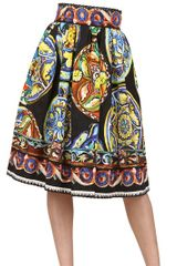 Dolce & Gabbana Plates Printed Silk Cotton Blend Skirt - Lyst
