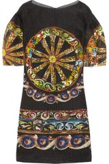 Dolce & Gabbana Printed Seersucker Silk-Blend Organza Dress - Lyst