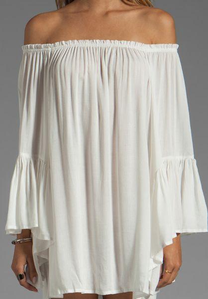 Indah Kamani Flounce Ruffle Edge Mini Dress In White Lyst