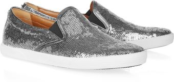Jimmy Choo Demi Leathertrimmed Sequined Sneakers - Lyst