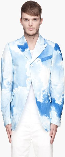 John Galliano Blue and White Cloud Blazer - Lyst