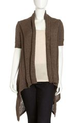 Lafayette 148 New York Open-Stitch Draped Cardigan - Lyst
