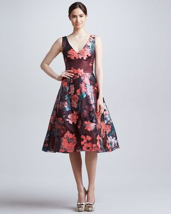 Lela Rose Sleeveless Dress with Full Skirt - Lyst