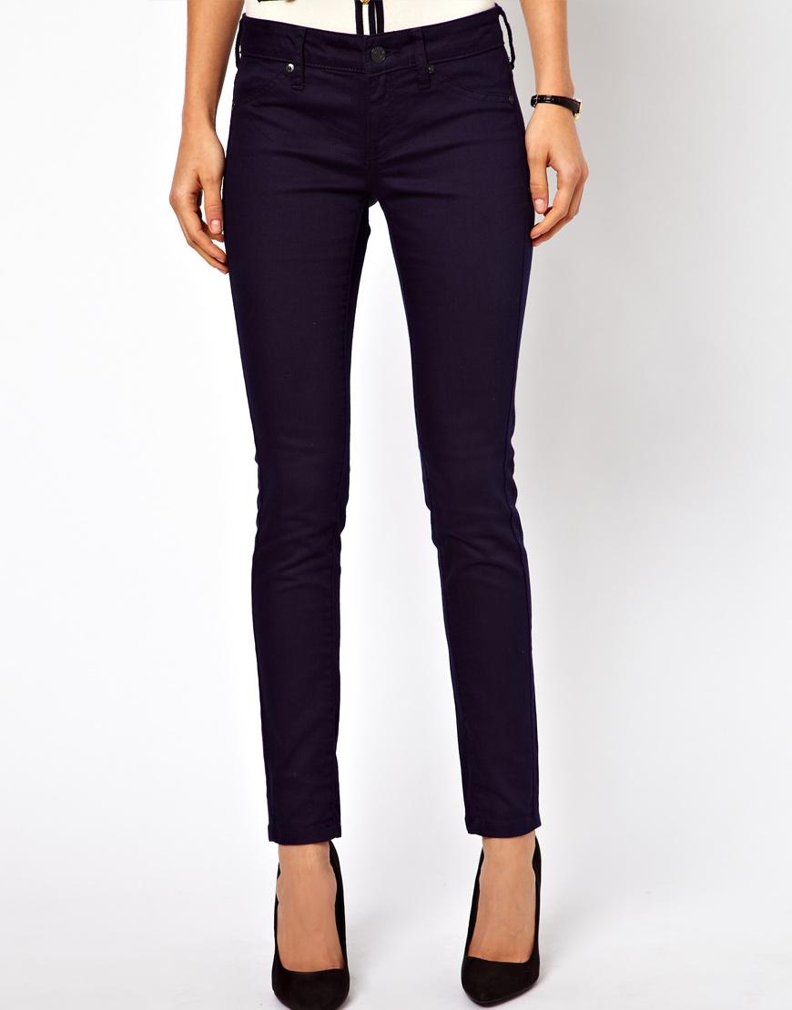 Mango Navy Skinny Jean in Blue | Lyst