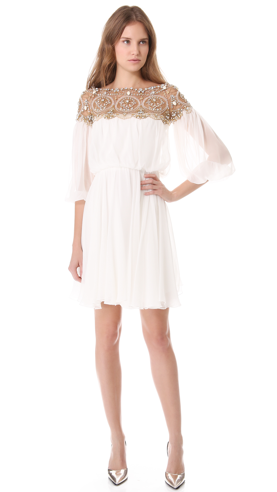 12c4d30774 Marchesa Long Sleeve Cocktail Dress in White - Lyst