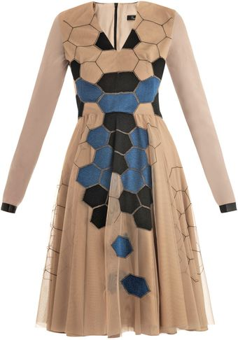 Marios Schwab Honeycomb Embroidered Nude Dress - Lyst