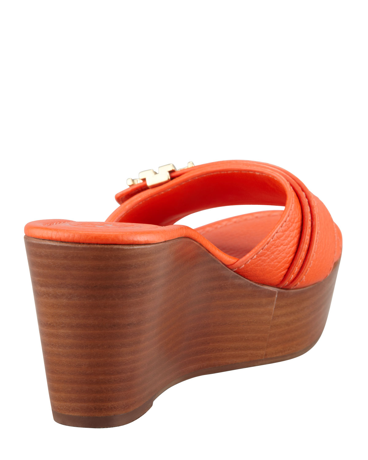 4a2943c2bf566 Lyst - Tory Burch Elina Midwedge Slide Sandal Orange in Orange