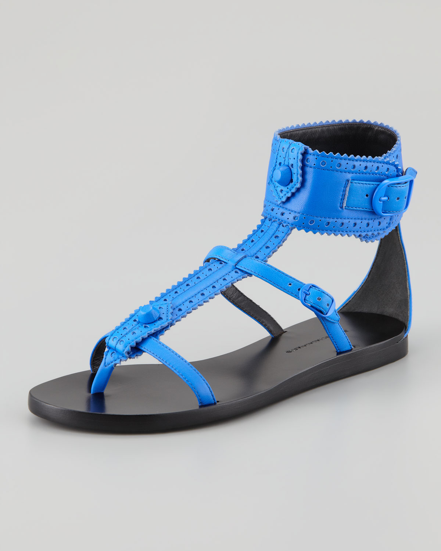 6847beb58daed Lyst - Balenciaga Arena Brogues Neon Flat Sandal in Blue