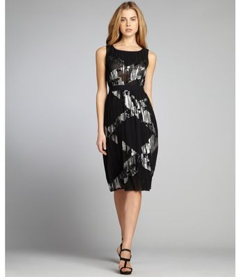 BCBGMAXAZRIA Black Foiled Plissé Chiffon Zariah Sleeveless Dress - Lyst