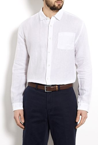 Farhi By Nicole Farhi White Straight Fit Linen Shirt - Lyst