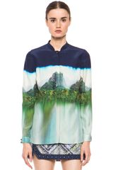 Matthew Williamson Landscape Silk Blouse in Ink - Lyst