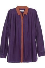 Matthew Williamson Pleated Brushed-Silk Shirt - Lyst