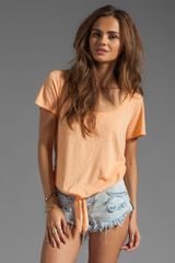 Michael Stars Short Sleeve Scoop Neck with Tie Hem in Creamsicle - Lyst