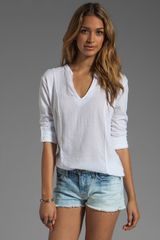 Michael Stars Long Sleeve Split Neck with Voile Mix - Lyst