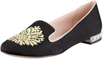 Miu Miu Grosgrain Damaskembroidered Smoking Slipper - Lyst