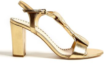 Moschino Cheap & Chic Metallic Leather Bow Block Heel Sandals - Lyst