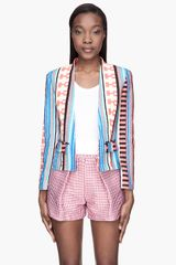 MSGM Coral and Blue Print Blazer - Lyst