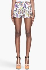 MSGM White and Purple Paisley Silk Shorts - Lyst