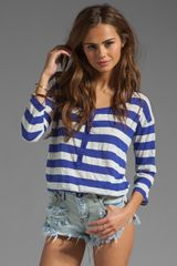 Splendid White Stripe Rugby Henley Top - Lyst