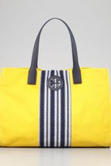 Tory Burch Ella Striped Canvas Tote Bag - Lyst