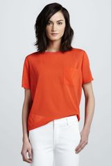 Vince Mix-Fabric Pocket Tee - Lyst