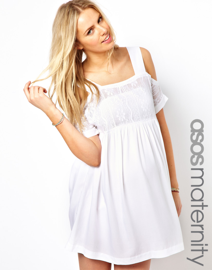 Asos crochet lace dress with cold shoulder in white lyst gallery womens crochet dresses ombrellifo Images
