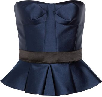 Burberry Prorsum Strapless Satin Peplum Top - Lyst
